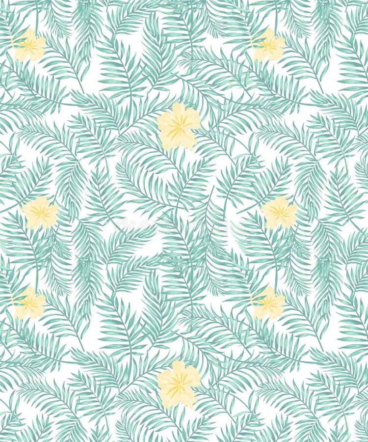 无缝的与水色绿色棕榈叶子和淡色黄色花的传染媒介热带样式 库存例证