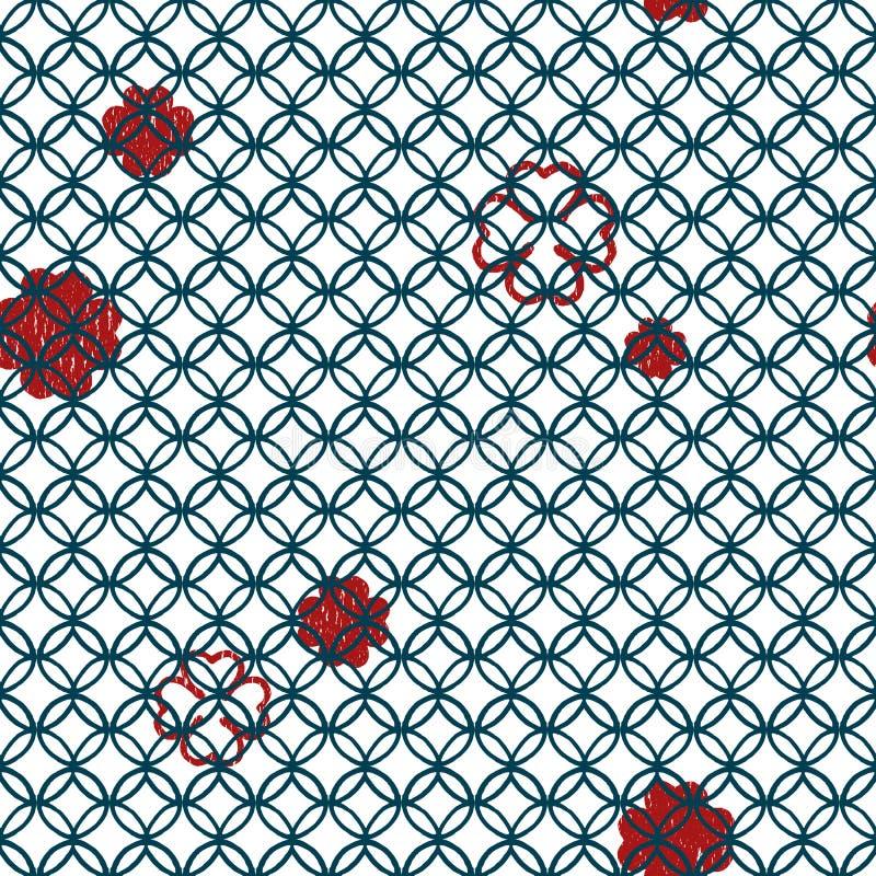 无缝的与红色四叶子三叶草的传染媒介几何线形圈子样式 库存例证
