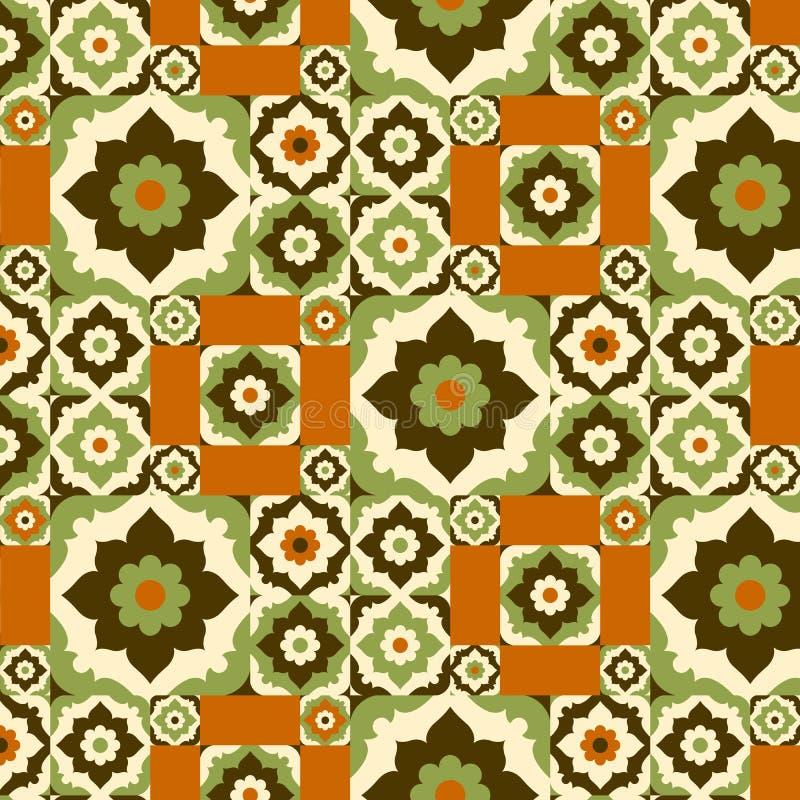 无缝的与花卉华丽的样式减速火箭的陶瓷砖设计 向量例证