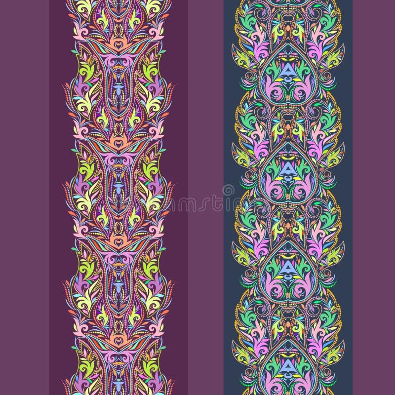 无缝的与花和不同的元素的鞋带垂直的样式 向量例证