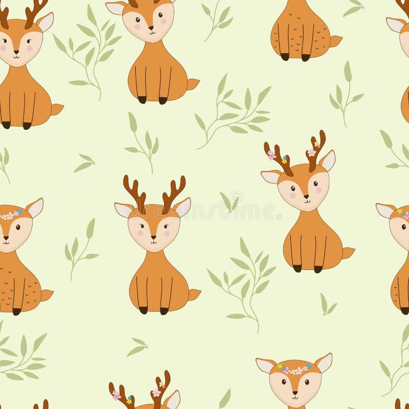 无缝的与花和叶子的样式逗人喜爱的鹿 向量例证
