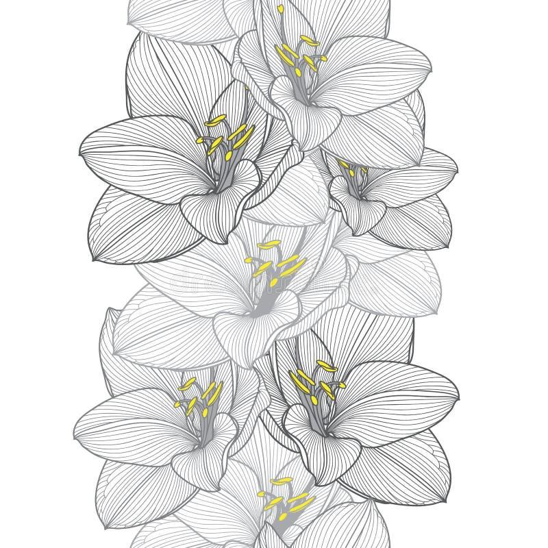 无缝的与花孤挺花的手图画花卉背景 皇族释放例证