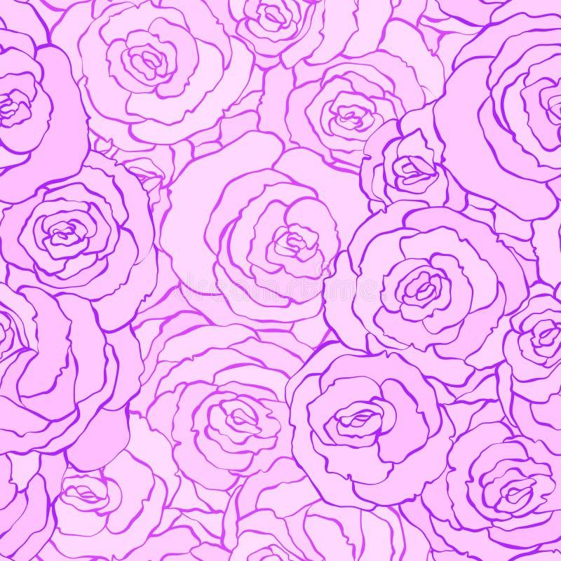 无缝的与花的葡萄酒花卉样式背景上升了 在桃红色颜色的传染媒介例证 织品的设计 库存例证