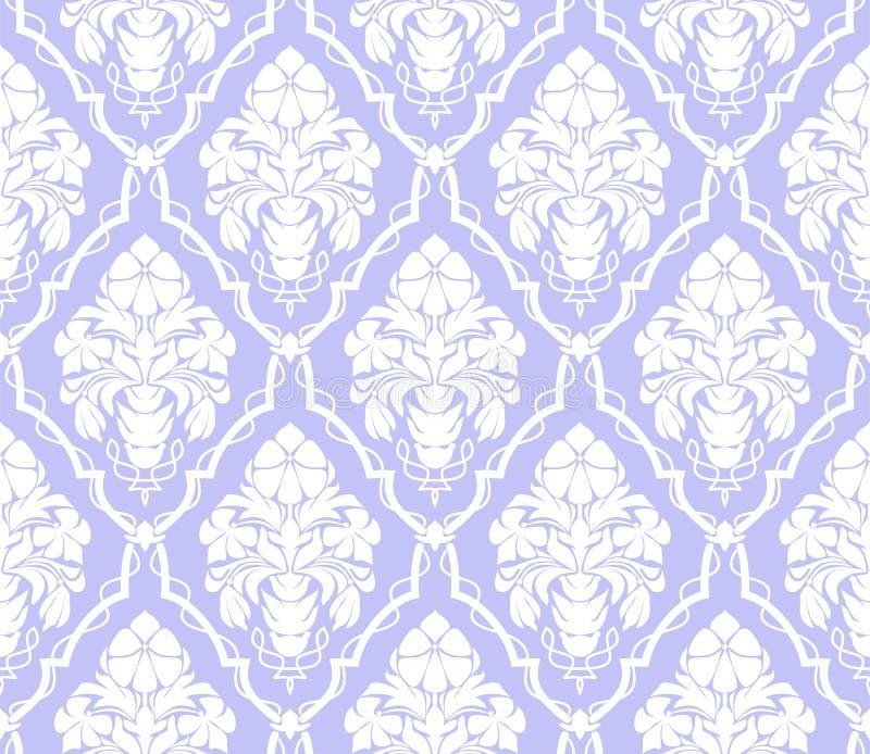 无缝的与花花束的锦缎装饰墙纸 皇族释放例证