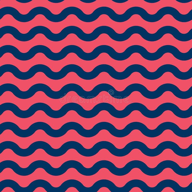 无缝的与蓝色和红色的传染媒介海洋样式挥动 库存例证