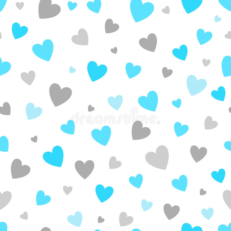 无缝的与蓝色和银心脏的样式白色背景 为假日婴孩的贺卡和邀请设计 皇族释放例证