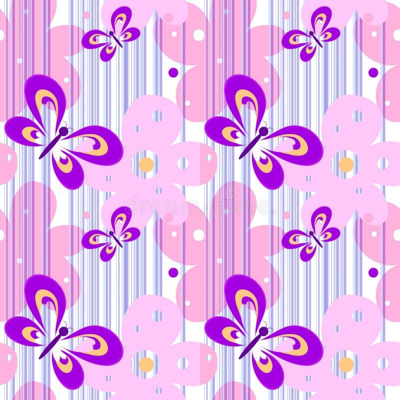 无缝的与蝴蝶和花的春天明亮的相当女性样式纺织品设计的,墙纸 白色与 皇族释放例证