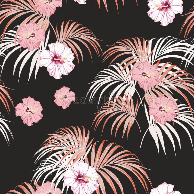 无缝的与轻的棕榈叶和热带桃红色木槿的传染媒介热带样式在黑背景开花 皇族释放例证