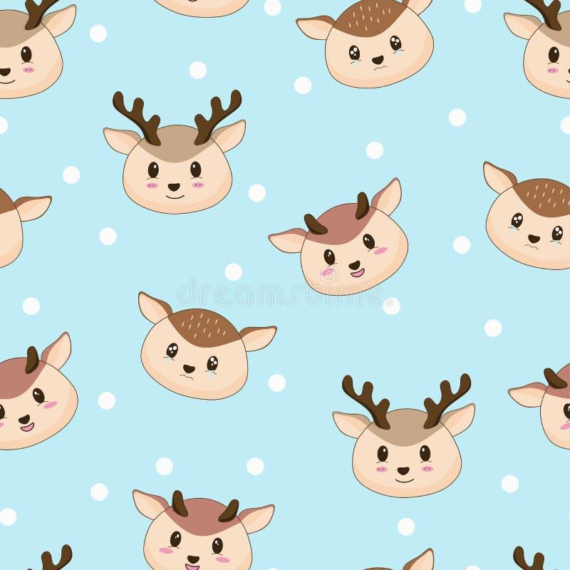 无缝的与雪的样式逗人喜爱的鹿 向量例证