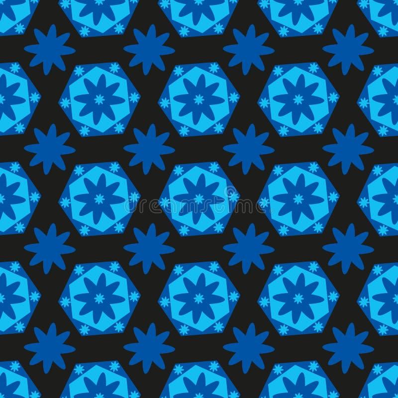 无缝的与颜色和几何形状的背景明亮的蓝色六角形 库存例证