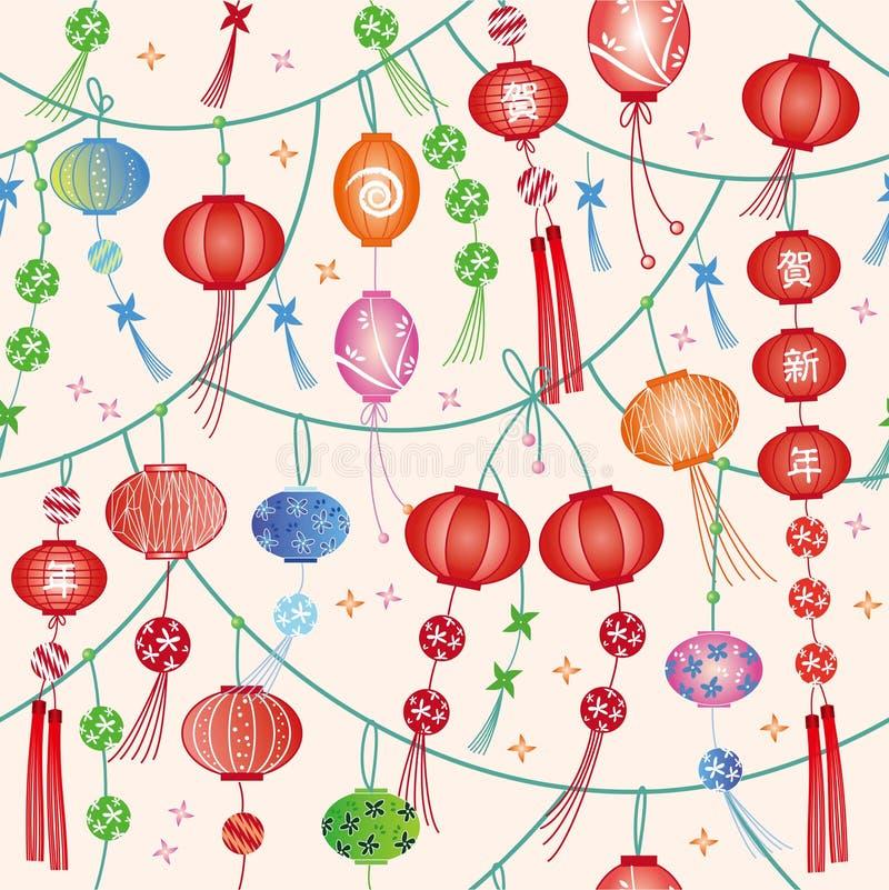 无缝的中国灯笼纹理 皇族释放例证