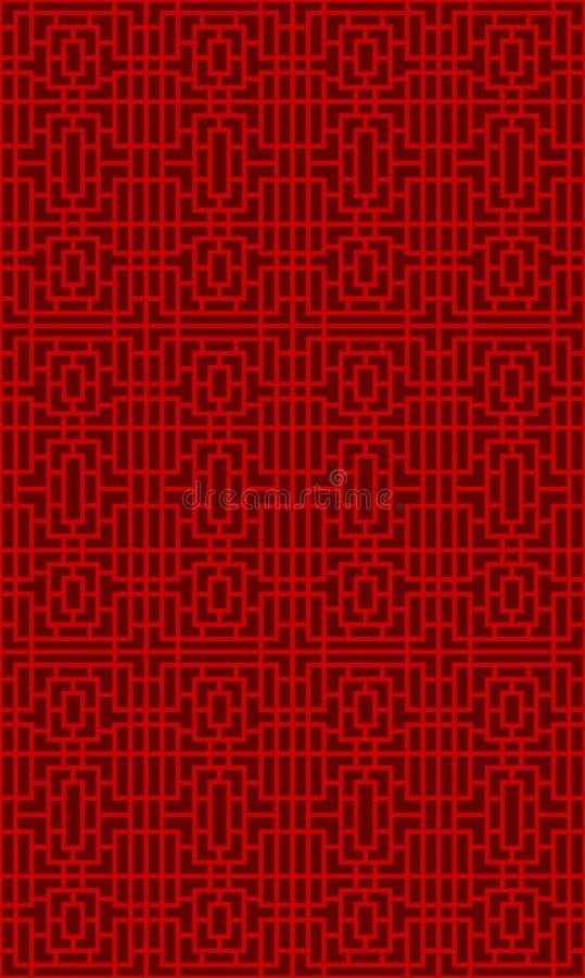 无缝的中国窗口网眼图案格子几何正方形线样式背景 皇族释放例证
