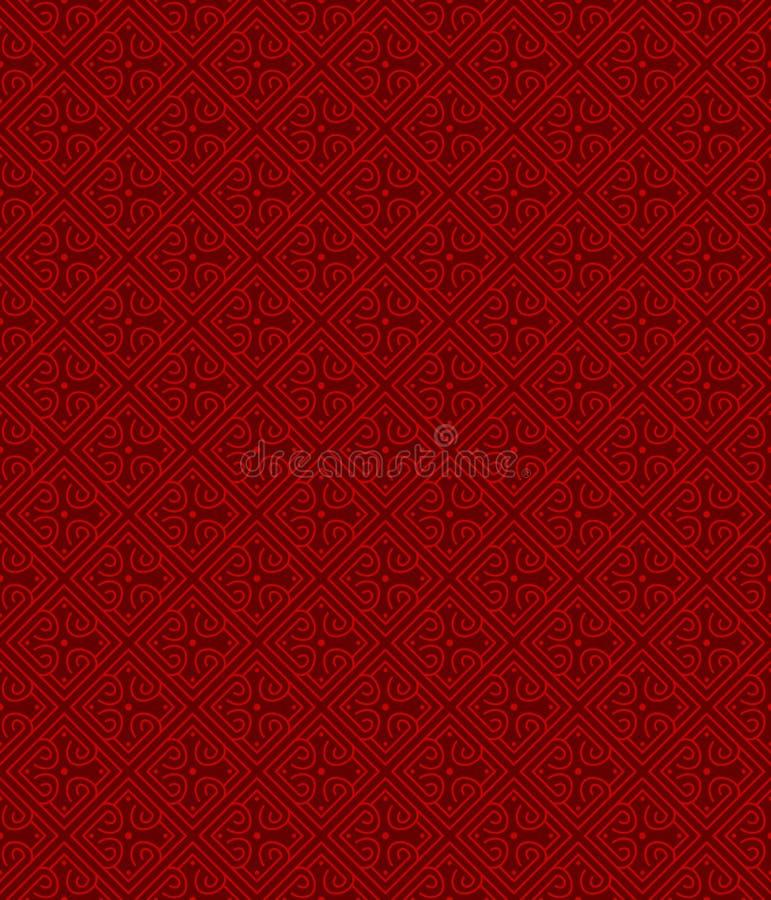 无缝的中国窗口网眼图案格子几何金刚石螺旋样式背景 皇族释放例证