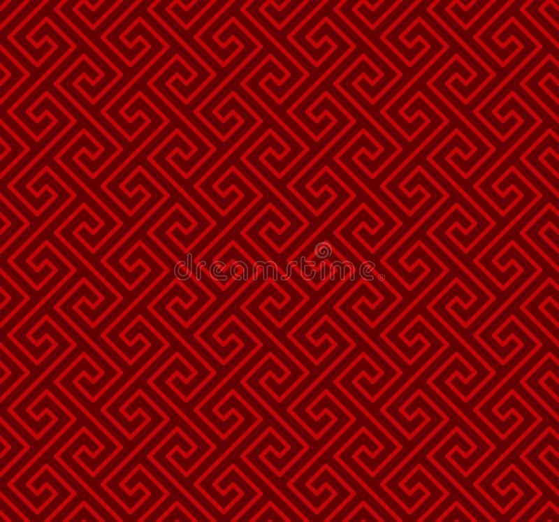 无缝的中国窗口网眼图案螺旋线几何样式背景 库存例证