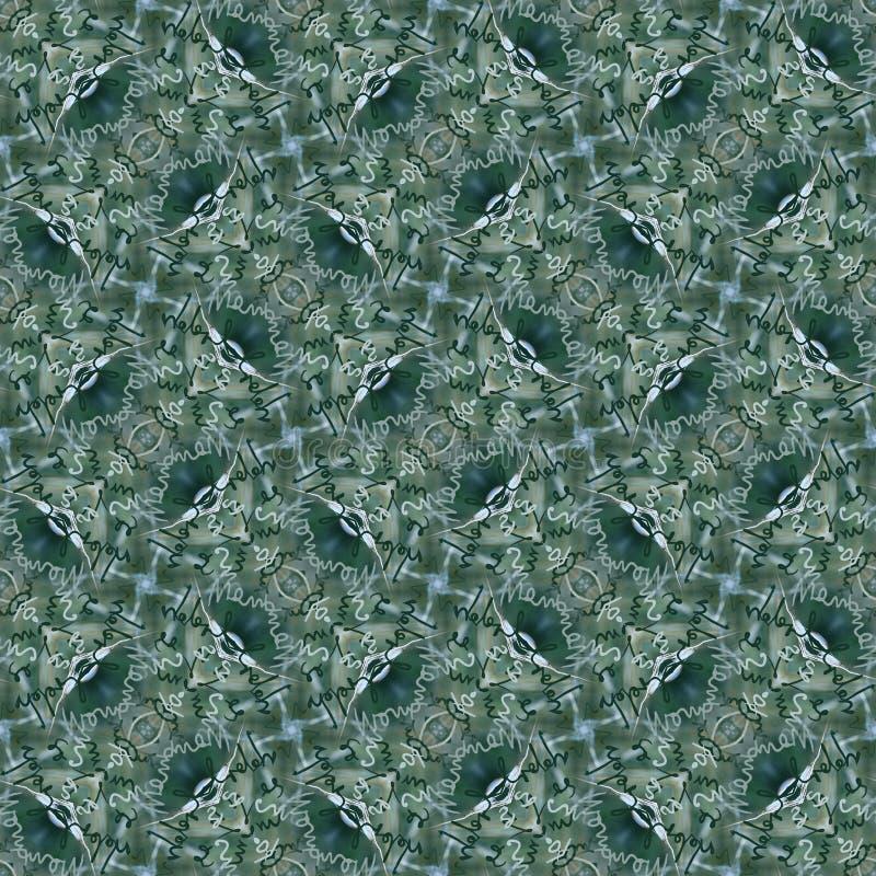 无缝的书法样式在绿色和银树荫下  向量例证