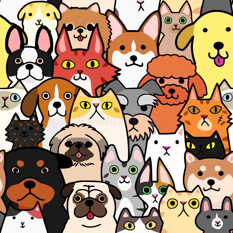 无缝的乱画猫和狗五颜六色的背景 向量例证