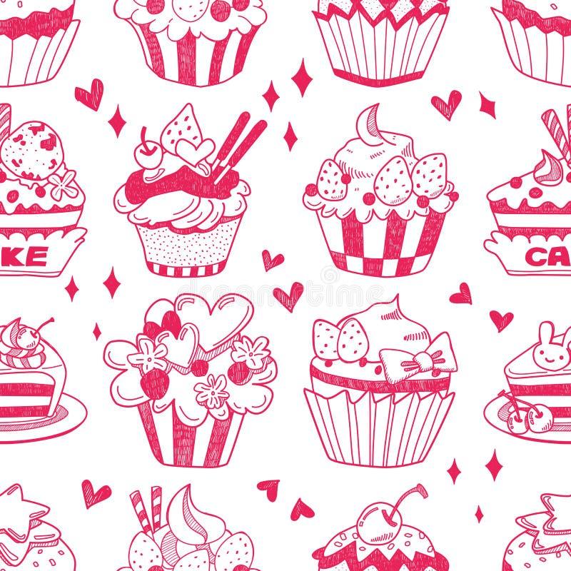 无缝的乱画蛋糕模式 免版税图库摄影