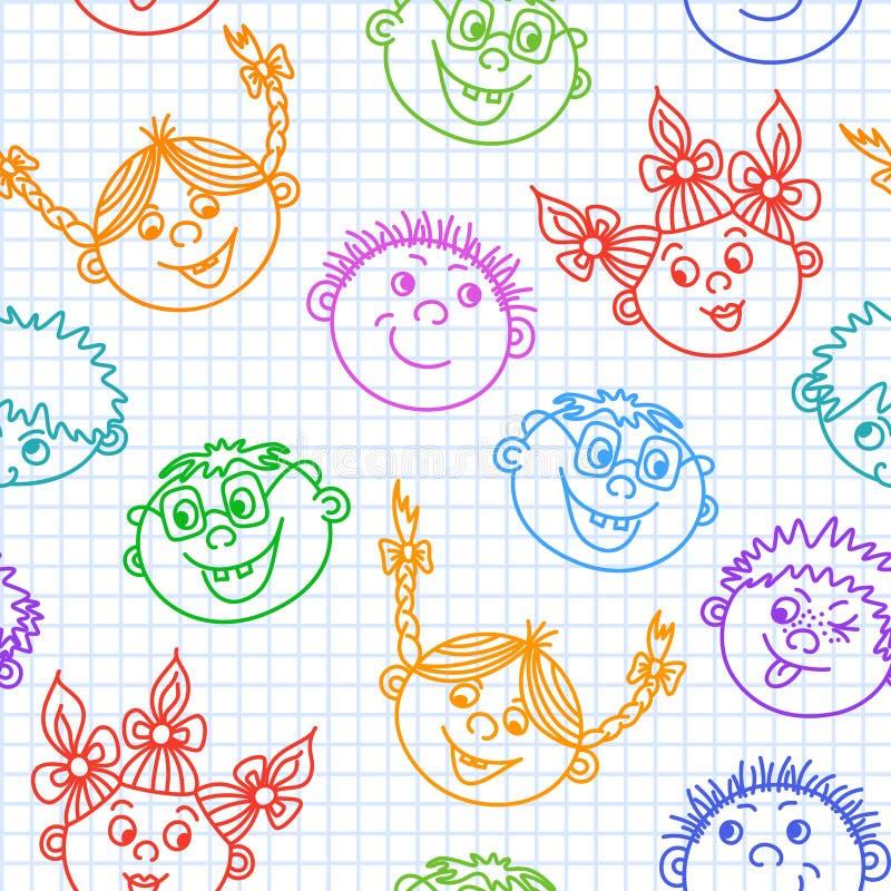 无缝的乱画微笑的孩子面孔样式 皇族释放例证