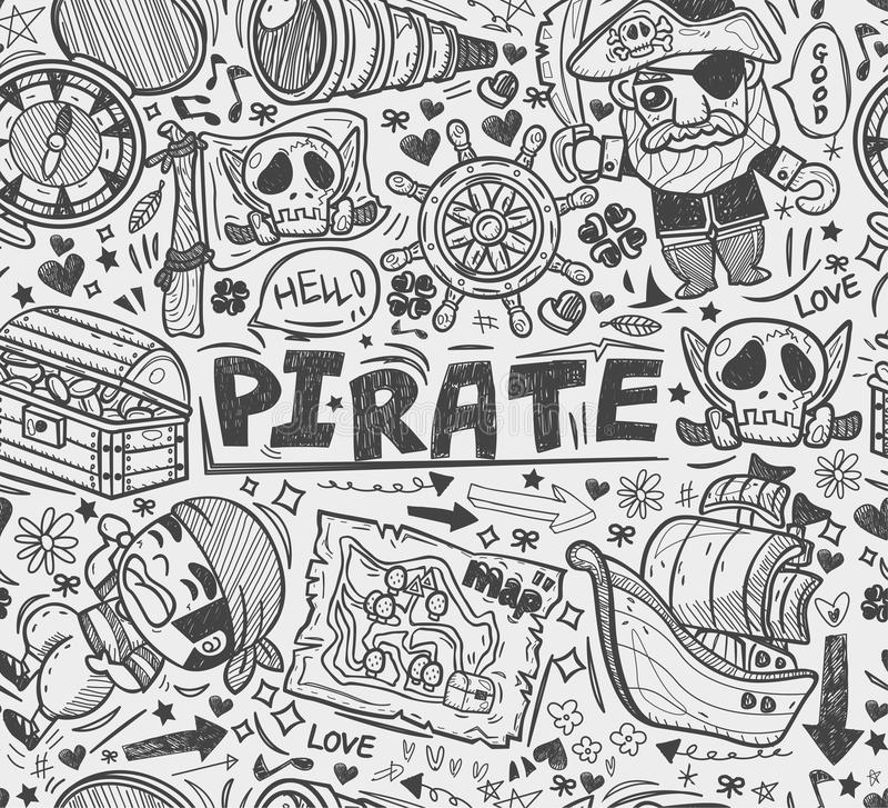 无缝的乱画海盗样式 库存例证