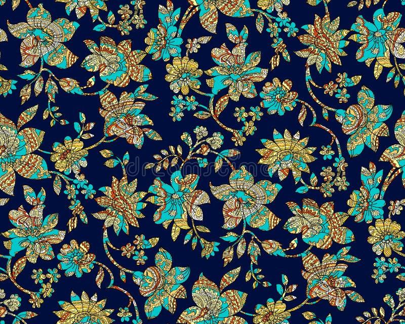 无缝的五颜六色的佩兹利锦缎有海军背景 皇族释放例证