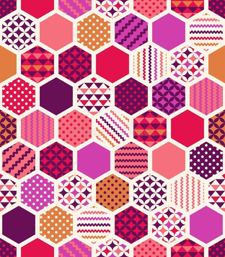 无缝的五颜六色的几何蜂窝样式 皇族释放例证