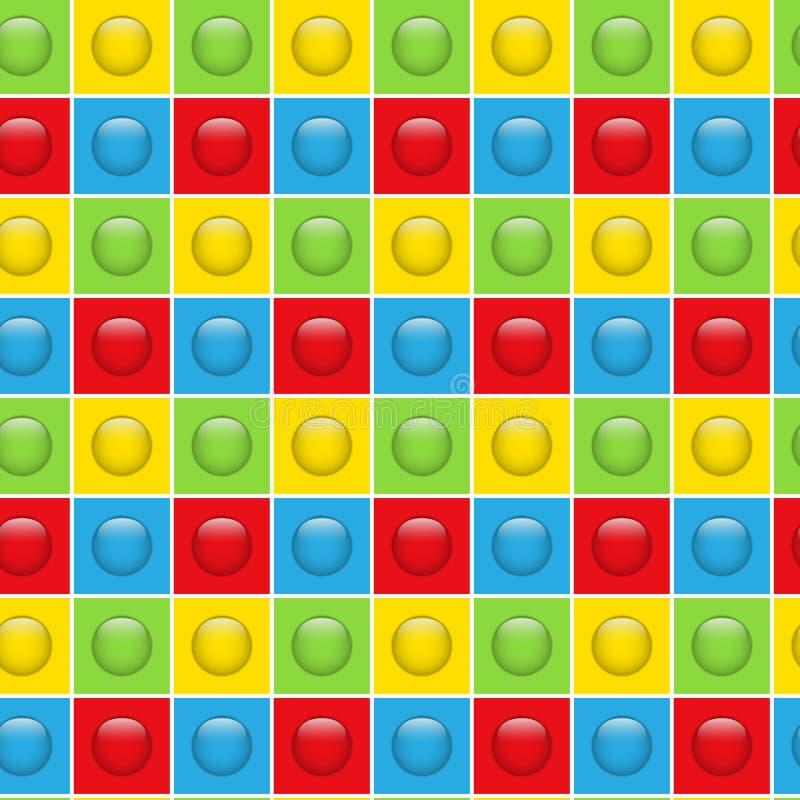 无缝的五颜六色的按钮样式背景 库存例证