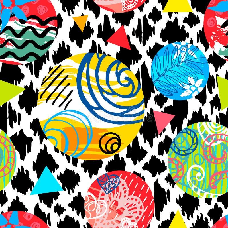 无缝的五颜六色的狂放的种族刷子冲程样式 热带叶子花几何抽象背景设计 皇族释放例证