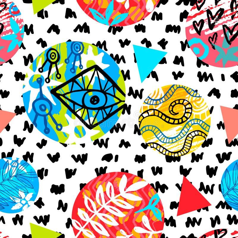 无缝的五颜六色的种族刷子冲程样式 热带叶子花几何波浪线抽象背景设计 皇族释放例证