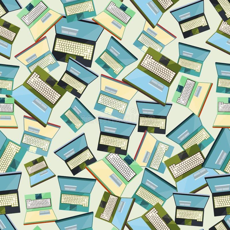 无缝的五颜六色的背景由在平的desi的被打开的膝上型计算机制成 免版税库存图片