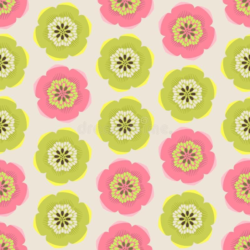 无缝的五颜六色的背景由抽象桃红色和绿色fl制成 库存例证