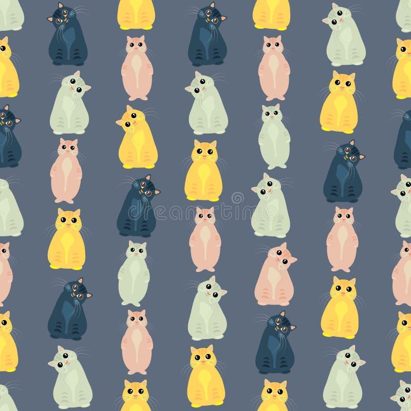 无缝的五颜六色的背景由猫做成用不同的姿势  库存例证
