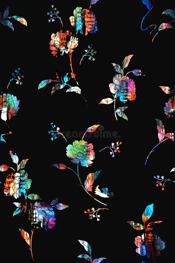 无缝的五颜六色的花纹花样有黑背景 皇族释放例证