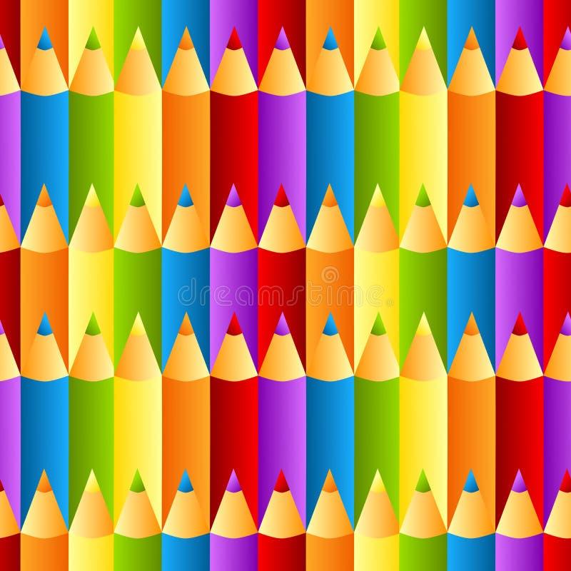 无缝的五颜六色的蜡笔模式背景 向量例证