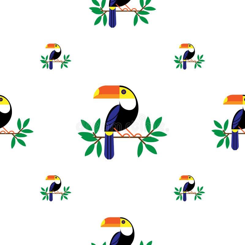 无缝的五颜六色的被绘的动画片toucan样式 o r 皇族释放例证