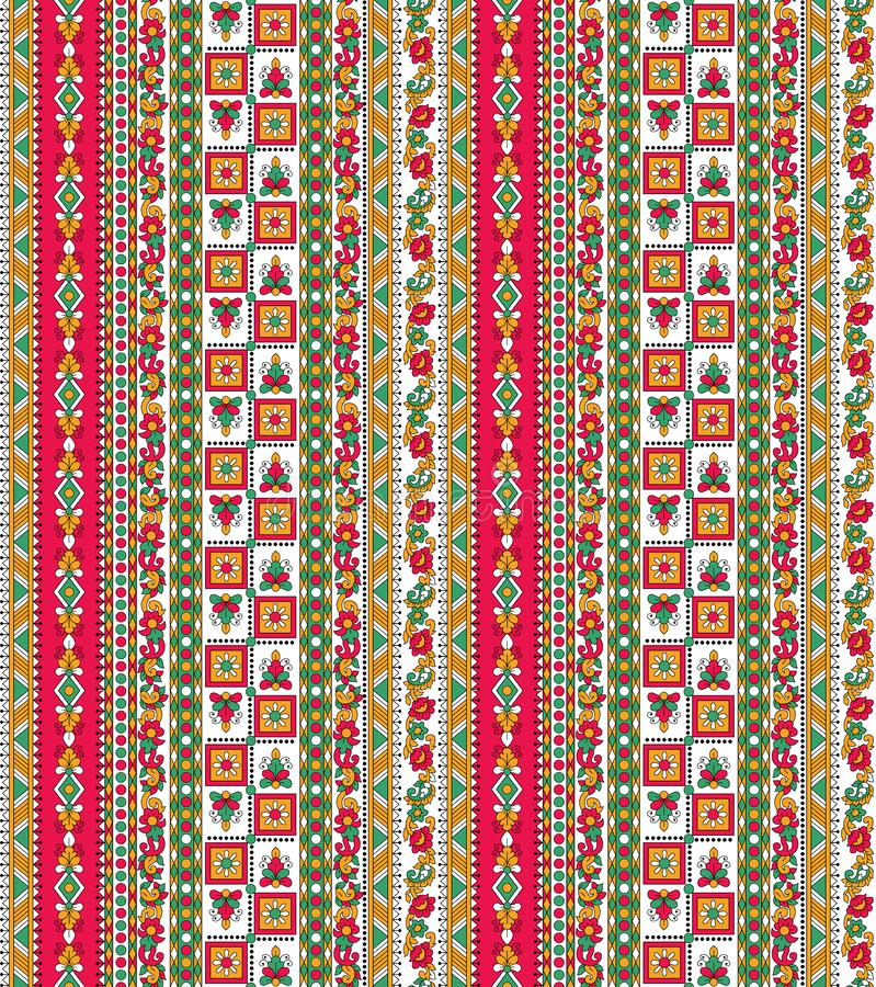 无缝的五颜六色的阿兹台克边界背景 库存例证
