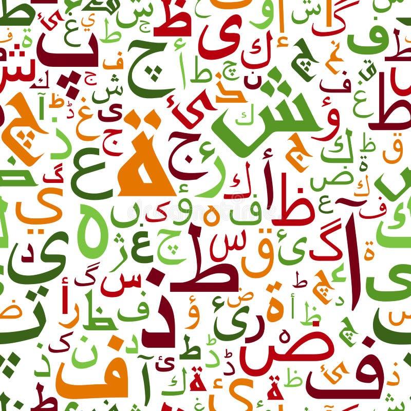 无缝的五颜六色的阿拉伯字母样式 皇族释放例证