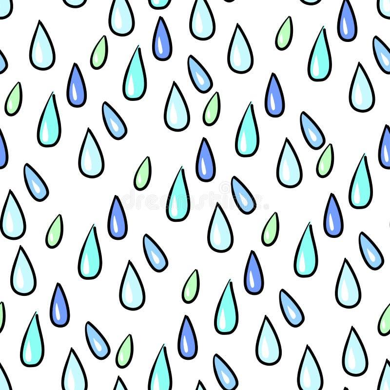 无缝的五颜六色的雨投下在白色的样式背景 库存例证