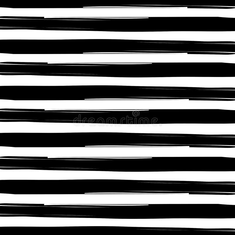 无缝的交织的黑白水彩难看的东西条纹构造背景 皇族释放例证