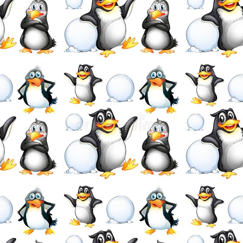 无缝的企鹅和雪球 皇族释放例证