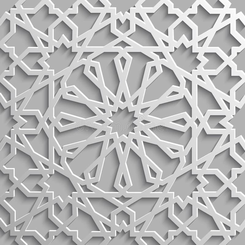 无缝的伊斯兰教的样式3d 传统阿拉伯设计元素 皇族释放例证