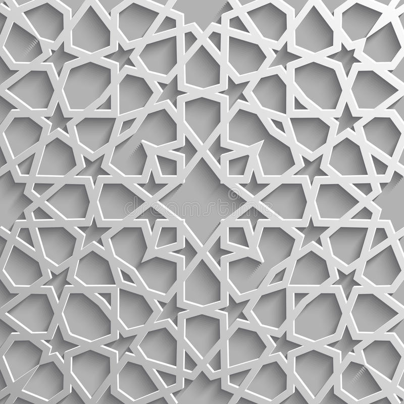 无缝的伊斯兰教的样式3d 传统阿拉伯设计元素 向量例证