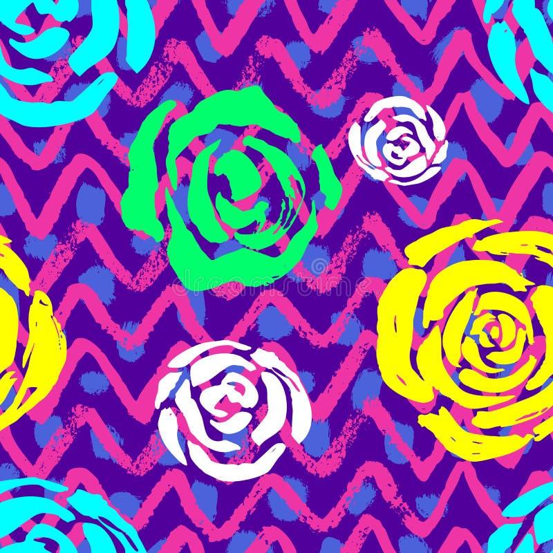 无缝的传染媒介五颜六色的刷子冲程样式 时髦颜色塑造织品,盖子,纺织品,波浪线抽象背景设计 皇族释放例证