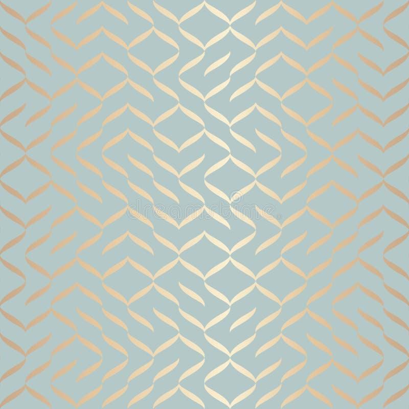 无缝的传染媒介几何金黄元素样式 在蓝绿色的抽象背景铜纹理 简单的minimalistic图表 向量例证