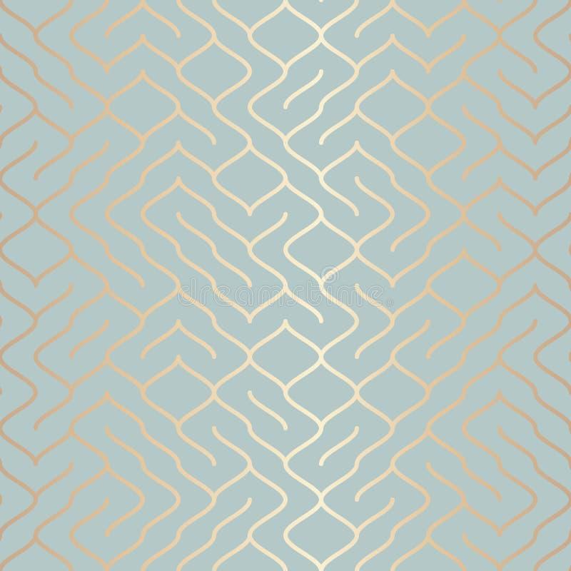 无缝的传染媒介几何金黄元素样式 在蓝绿色的抽象背景铜线纹理 简单minimalistic 库存例证