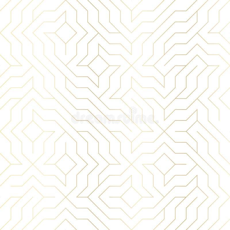 无缝的传染媒介几何金黄线样式 与金子纹理的抽象背景在白色 简单的minimalistic图表印刷品 库存例证