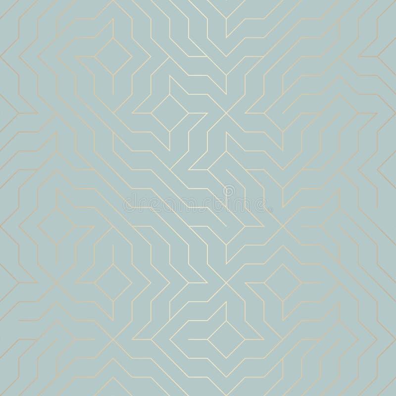 无缝的传染媒介几何金黄线样式 在蓝绿色的抽象背景铜纹理 简单的minimalistic图表印刷品 向量例证