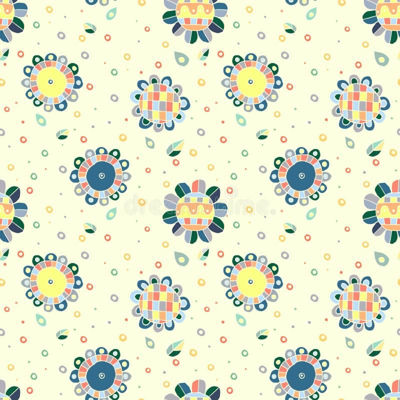 无缝的传染媒介手拉的乱画纯稚花卉样式 与幼稚花,叶子的背景 装饰逗人喜爱的图表线 皇族释放例证