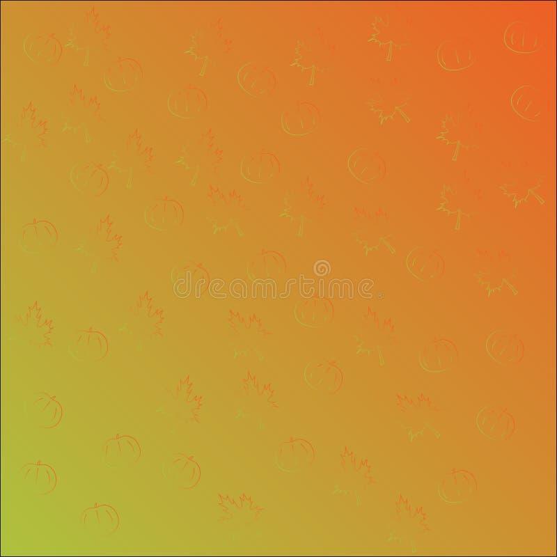 无缝的传染媒介样式用橙色南瓜和枫叶,梯度橙色绿色 库存例证