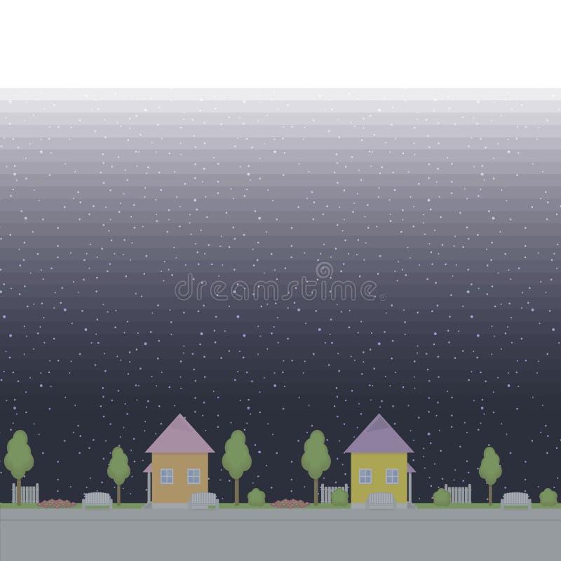 无缝的传染媒介样式边界遏制公园街道绘了树长凳花圃篱芭夜反对黑色和b的背景 库存例证