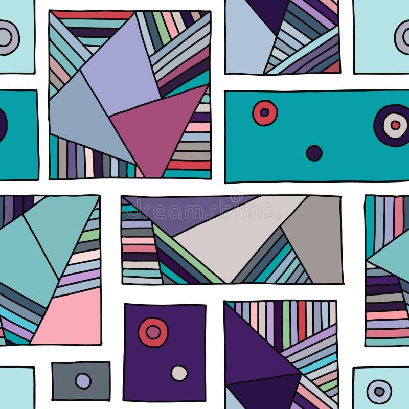 无缝的传染媒介样式,与菱形,三角,线的葡萄酒几何背景 装饰的,墙纸印刷品,包装, 皇族释放例证